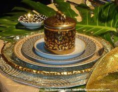 Gold Jungle & Animal Print Tablescape | The Decorating Diva, LLC