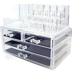 Ikee Design Acrylic Jewelry & Cosmetic Storage Display Boxes Two Pieces Set.  #IkeeDesign