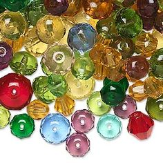Bead mix, Preciosa Czech pressed glass, multicolored, 6x6mm-11mm faceted rondelle and faceted bicone. Sold per pkg of 1/4 pound, approximately 315 beads.