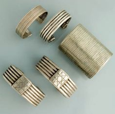 Africa | Bracelets worn by the Amhara and Oromo peoples of Ethiopia | Silver | The bracelets worn by the Amhara women although similar to the Oromo bracelets, are thinner and lighter.