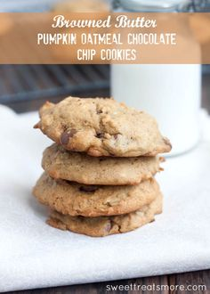 Browned Butter Pumpkin Oatmeal Choco Chip Cookies