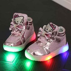 53bbd6a7 New Boy's Girl's LED Light Up Children Shoes Luminous Fashion Kids Flats  Heels Breathable Sneakers PU Leather Casual Shoe 21 30-in Sneakers from  Mother ...