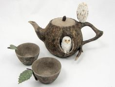 "Kyoko Okubo The Teapot in the Woods Washi paper sculpture Teapot: 5.5"" x 7.5"" x 4"" Cups: 1.5"" x 4"" x 2.25"" diameter each"
