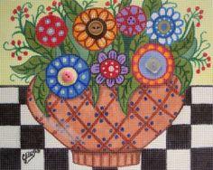 FLORAL BOUQUET 14ct FLOWERS Original OOAK Handpainted Needlepoint Canvas ELLISON