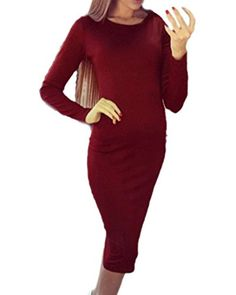 ZANZEA Women's Sexy O Neck Long Sleeve Evening Party Bottoming Dress Bodycon Red US 12-14/ASIAN XL. Sleeve Type:Long Sleeve. Simple Design, Easy To Match Different Clothing Style. Suitable For Beach,Party,Club,Holiday,Beach Or Just Daily Wear. Sexy Crewneck Bodycon Dress,An Essential For Every Fashion Women Or Girl. Please Refer To The Size Details Before You Purchase.( 2cm/1 inch Inaccuracy May Exist Due To Hand Measure.).