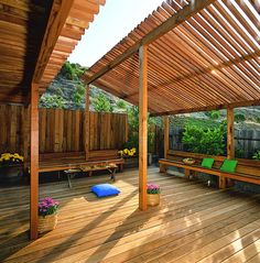 Slim Wood Slats Help Round Out The Look Of This Eye Catching, Redwood  Pergola