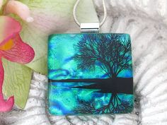Dichroic Fused Glass Jewelry, Reflection TreePendant - Dichroic Glass