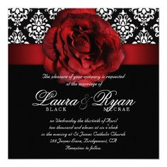 Elegant Wedding Damask Red Rose Black White Invite