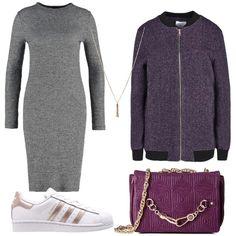 Outfit basico, tubino di maglia melange, abbinato a sneakers bianche e rosa, bomber lungo e tracolla con la catena, piccola collana lunga, per ragazze che osano.
