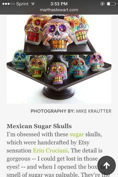 Day of the Dead Sugar Skulls by PuffyWoodson on Etsy Sugar Skull Molds, Sugar Skull Art, Mexican Sugar Skulls, Altars, Day Of The Dead, Favors, Party Ideas, Wedding, Etsy