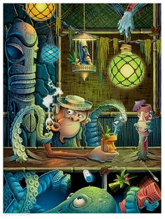 Swamp Fire Lounge, The art of Doug Horne - Tiki Central Tiki Art, Tiki Tiki, Tiki Bar Decor, Tiki Lounge, Hawaiian Tattoo, Tropical, Tiki Room, Canvas Prints, Art Prints