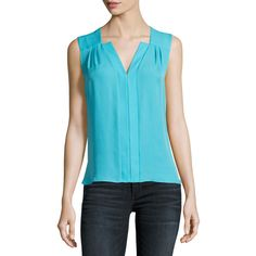 Elie Tahari Sheyda Silk Split-Neck Blouse (€170) ❤ liked on Polyvore featuring tops, blouses, bright blue, women's apparel tops, blue top, elie tahari blouse, blue blouse, ruched blouse and silk sleeveless top
