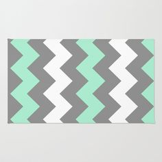 Mint White Grey Chevron Area Throw Rug by CreativeAngel - $28.00