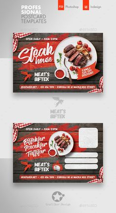 Buy Steak House Postcard Templates by grafilker on GraphicRiver. Steak House Postcard Templates Fully layered INDD Fully layered PSD 300 Dpi, CMYK IDML format open Indesign or la. Food Menu Design, Food Poster Design, Flyer Design, Banner Design Inspiration, Website Design Inspiration, Postcard Template, Postcard Design, Creative Flyers, Creative Design