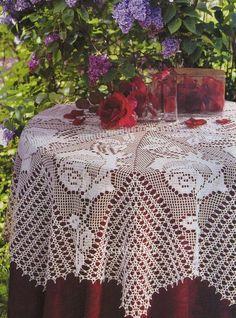 Delicadezas en crochet Gabriela: Mantel con rosas