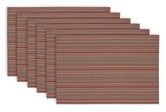 "DII Everday, Easy to Clean Indoor/Outdoor Woven Vinyl 13x18"" Stripe Placemats, Tango Red, Set of 6 DII http://www.amazon.com/dp/B00SBBTTQQ/ref=cm_sw_r_pi_dp_SwjIvb18RA1Q0"