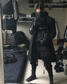 Hey guys does somebody know what kind of style is this outfit?, Hey guys does somebody know what kind of style is this outfit? I think its like Cyberpunk dark but i just want to be sure. Fashion Mode, Dark Fashion, Grunge Fashion, Boy Fashion, Korean Fashion, Fashion Outfits, Fashion Blogs, Womens Fashion, Cyberpunk Mode
