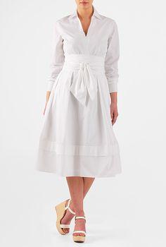 I <3 this Obi belt cotton poplin shirtdress from eShakti
