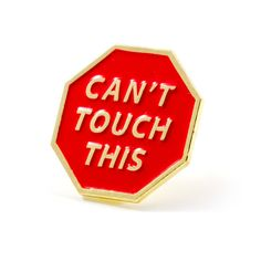 "No touching - Gold pin with bright red enamel - Rubber backing - Measures .875""…"