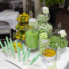 candy bar - good example of a small one, just 3 apothecary jars - taffy, gumballs