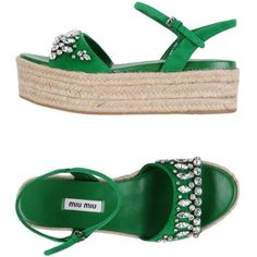 Miu Miu Espadrilles ($347) ❤ liked on Polyvore featuring shoes, sandals, green, flatform espadrille sandals, ankle tie sandals, wedge espadrilles, green wedge sandals and green shoes