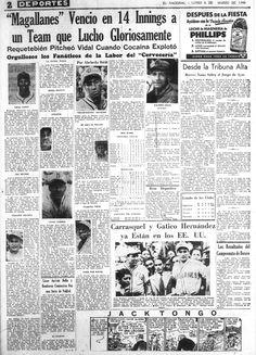 Magallanes derrota 9-8 al Cervecería Caracas y gana el campeonato de béisbol de primera división. Segundo título en la historia del club navegante. Publicado el 6 de marzo de 1944.
