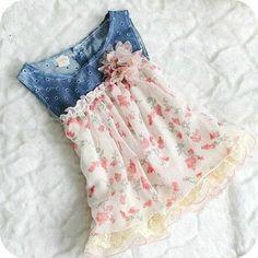 Denim infant dress- denim floral dress - baby girl dress