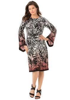 Roamans Women's Plus Size Bell Sleeve Dress * For more information, visit now : Plus size dresses