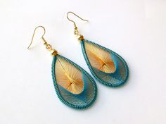 Aquamarine and Gold Handwoven Thread Earrings. $10.00, via Etsy.