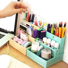 Cute Mini Cafe Easy Desk Box Pastel Storage Tidy Organizer Cosmetics Pick DIY