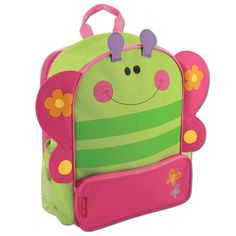 """Stephen Joseph Lunch Pals Butterfly — 7.5""""×9.5""""×5.255"""" — This bag is designed with vivid patterns that reflect the fun and delightful universe of your child's imagination. Featuring a padded back and adjustable padded straps so your child can carry all their school belongings in comfort. Constructed of a durable polyster fabric, this backpack is built to last from one generation to the next."""
