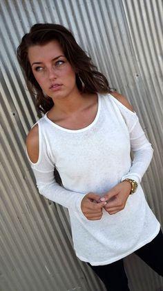 Cream Cold Shoulder Knit