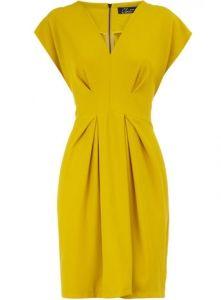 yellow pleat dress