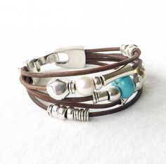 Brown Leather Turquoise Freshwater Pearl Silver Cuff Bracelet Southwest Native American Boho Trending Artisan Stacking Trendy Jewelry Trends by connectionsbymaya on Etsy