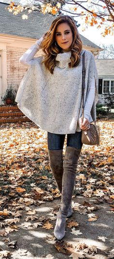 10+ Ultimate Outfit Ideas To Wear This Fall. Poncho GrauGrey ... 949cc58af742
