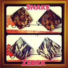 Handmade animal print resin stud earrings. #snake #zebra #handmade #earrings #studearrings www.mylovebugboutique.com