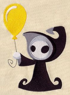 Death with a Balloon Grim Reaper by EmbroideryEverywhere on Etsy, $13.99