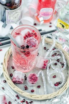 {Happy New Year} Pomegranate and Rose Gin Tonic