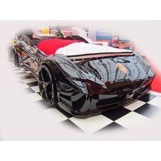 Black Ferrari racecar bed for kids, realistic too