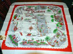 1950s Florida souvenir tablecloth