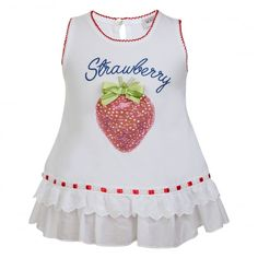 Monnalisa Baby Girls White Top with Strawberry Print and Red Trimming - Monnalisa from Chocolate Clothing UK