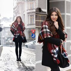 All black look with a tartan scarf today on my blog: http://themysteriousgirl.ro/2014/12/tartan-scarf/