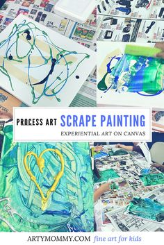 This scrape art technique for kids is easy and fun! Enjoy a sensory activity with your kids while making beautiful artwork on canvas. Scrape away layers of acrylic or washable paint using upcycled styrofoam pieces, rulers or credit cards and reveal interesting color fields and harmonies. Teach little artists about color mixing with this simple activity that can render stunning results. This project is part of the fine art for kids Preschool Art Class Process Art series.