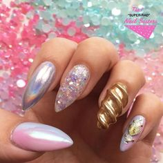 Unicorn Horn Nails Are Bringing Mystical Magic To Your Manicure - More Move over unicorn macarons and makeup because unicorn horn nails are about to take the stage as the best unicorn trend around. 3d Nails, Love Nails, Pretty Nails, Acrylic Nails, Unicorn Nails Designs, Unicorn Nail Art, Unicorn Nail Powder, Nail Art Designs, Nails Kylie Jenner
