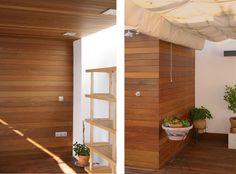 madera Interior Simple, Interior Ideas, Divider, Loft, Bed, Furniture, Home Decor, Arch, Interior Doors