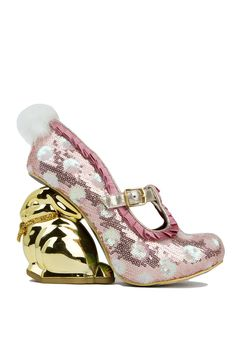 It's time to bunny up, ladies. The Irregular Choice Fluffy Tail Heel in Pink White Sequins features pink rose pleated detailing along vamp, an adjustable gold buckle strap, pink/white sequined body, a hidden platform, and an iridescent gold-tone snakeskin-printed & red velour insole; An adorable gold-toned bunny figurine with a glittery ribbon tied into a bow around his neck, & a fluffy bunny tail at back. Pair with a solid mini & a box clutch.