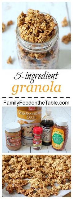 An easy, light homemade granola with just 5 ingredients!   FamilyFoodontheTable.com
