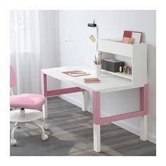 PÅHL Desk with add-on unit - white/pink - IKEA
