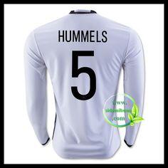 Billige Fotballdrakter Tyskland Langermet HUMMELS 5 Hjemmedraktsett UEFA Euro 2016