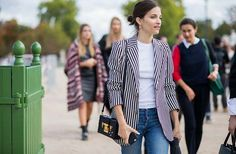 Denim with black and white striped blazer ~ Paris Fashion Week, Day 8 via @WhoWhatWear
